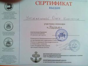 Сертификат Ладья Устюжанина